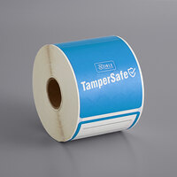 TamperSafe 2 1/2 inch x 6 inch Customizable Blue Paper Tamper-Evident Label - 250/Roll