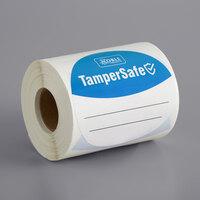 TamperSafe 3 inch Round Blue Paper Tamper-Evident Label - 250/Roll
