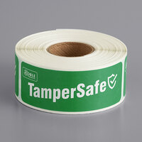 TamperSafe 1 inch x 3 inch Green Paper Tamper-Evident Label - 250/Roll