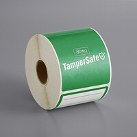 TamperSafe 2 1/2 inch x 6 inch Customizable Green Paper Tamper-Evident Label - 250/Roll