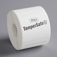 TamperSafe 2 1/2 inch x 6 inch Customizable White Paper Tamper-Evident Label - 250/Roll