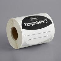 TamperSafe 3 inch Round Black Paper Tamper-Evident Label - 250/Roll