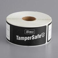 TamperSafe 1 1/2 inch x 6 inch Black Paper Tamper-Evident Label - 250/Roll