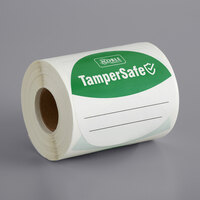 TamperSafe 3 inch Round Customizable Green Paper Tamper-Evident Label - 250/Roll