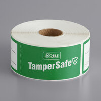 TamperSafe 1 1/2 inch x 6 inch Customizable Green Paper Tamper-Evident Label - 250/Roll