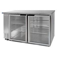 Beverage Air BB58G-1-S-LED 58 inch Back Bar Refrigerator with 2 Glass Doors and Stainless Steel Front - 115V, LED Lighting
