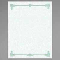8 1/2 inch x 11 inch Green Menu Paper - Scroll Border - 100/Pack