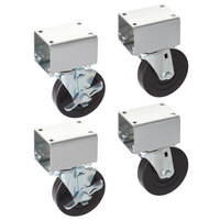 Vollrath 38099 4 inch Swivel Plate Casters for ServeWell Hot and Cold Food Tables - 4/Set
