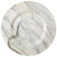 The Jay Companies 1875025 13 inch Round American Atelier Marble White and Black Glass Charger Plate