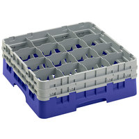 Cambro 16S534186 Camrack 6 1/8 inch High Customizable Navy Blue 16 Compartment Glass Rack