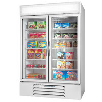 Beverage Air Market Max MMRF49-1-W-LED-B White 2-Glass Door Dual Merchandising Refrigerator / Freezer with LED Lighting- 49 Cu. Ft.