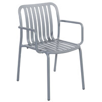 BFM Seating PHKWAC-SG Key West Soft Gray Vertical Slat Powder Coated Aluminum Stackable Outdoor / Indoor Arm Chair