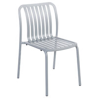 BFM Seating PHKWSC-SG Key West Soft Gray Vertical Slat Powder Coated Aluminum Stackable Outdoor / Indoor Side Chair
