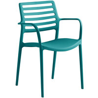 Lancaster Table & Seating Allegro Teal Stackable Resin Arm Chair