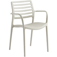 Lancaster Table & Seating Allegro Beige Stackable Resin Arm Chair