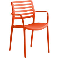 Lancaster Table & Seating Allegro Orange Stackable Resin Arm Chair
