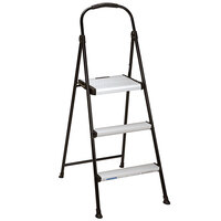 Cosco 11425ABK1E Silver / Black 3-Step Folding Step Stool with Rubber Hand Grip