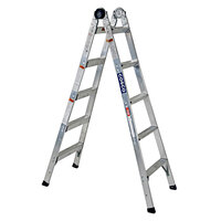 Cosco 20210T1ASE 2-in-1 Aluminum 14' Max Reach 10-Step Multi-Position Step and Extension Ladder