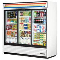 True GDM-69-LD 78 inch Three Section Sliding Glass Door White Merchandising Refrigerator with LED Lighting - 69 Cu. Ft.