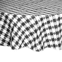 Intedge 60 inch Round Black Checkered Gingham Vinyl Table Cover with Flannel Back