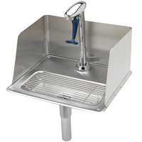 T&S B-1235 Water Station with 6 inch High Splash Guard, Pedestal Type Glass Filler, 18 Gauge Stainless Steel Drip Pan, 1/4 inch Tailpiece for Copper Tubing, and 1 1/4 inch Drain