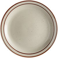 Choice 9 1/2 inch Brown Speckle Narrow Rim Stoneware Plate - 24/Case
