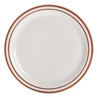 9 1/2 inch Brown Speckle Narrow Rim China Plate - 24/Case