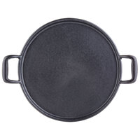 Tablecraft CW30118 12 3/4 inch Pre-Seasoned Cast Iron Pizza Pan / Stone with Handles