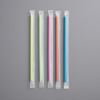 Choice 7 3/4 inch Jumbo Neon Wrapped Straw   - 12000/Case