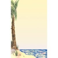 8 1/2 inch x 14 inch Menu Paper - Tropical Themed Palm Tree Design Left Insert - 100/Pack