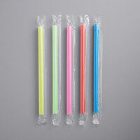 Choice 8 1/2 inch Colossal Neon Wrapped Straw   - 1600/Case