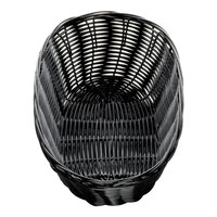 Tablecraft 2476 10 inch x 6 1/2 inch x 3 inch Black Oval Rattan Basket   - 12/Pack