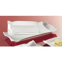 CAC TMS-12 Times Square 9 inch x 5 1/4 inch Bright White Rectangular China Platter - 24/Case