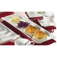 CAC TMS-61 Times Square 16 inch x 5 1/2 inch Bright White Rectangular China Platter - 12/Case