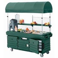 Cambro KVC854C519 CamKiosk Green Customizable Vending Cart with 4 Pan Wells and Canopy