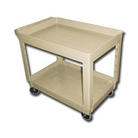 Continental 5805BE 40 inch x 25 inch Beige Utility Cart with 2-Shelf Recessed Top