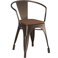 Lancaster Table & Seating Alloy Series Copper Metal Indoor Industrial Cafe Arm Chair with Walnut Wooden Seat