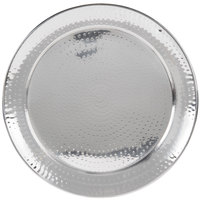 American Metalcraft HMRST1801 18 1/2 inch Round Hammered Stainless Steel Serving Tray