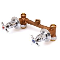 T&S B-1035 Concealed Bypass Mixing Valve with 1/2 inch NPT Female Union Inlets, 1/2 inch NPT Female Bottom Outlet, and Four Arm Handles - ADA Compliant