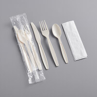 Visions Heavy Weight Beige Wrapped Plastic Cutlery Pack with Napkin - 500/Case