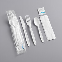 Visions Individually Wrapped Heavy Weight White Plastic Cutlery Pack with Napkin and Salt and Pepper Packets - 500/Case