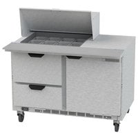 Beverage Air SPED48HC-12M-2 48 inch 1 Door 2 Drawer Mega Top Refrigerated Sandwich Prep Table