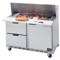 Beverage Air SPED48-12M-2 48 inch 1 Door 2 Drawer Mega Top Refrigerated Sandwich Prep Table