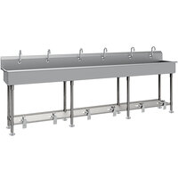 Advance Tabco FS-FM-120FV 14-Gauge Stainless Steel Multi-Station Hand Sink with Tubular Legs, 8 inch Deep Bowl, and 6 Toe-Operated Faucets - 120 inch x 19 1/2 inch