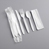 Visions Individually Wrapped Heavy Weight White Plastic Cutlery Pack with Napkin - 500/Case