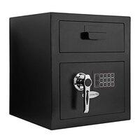 Barska AX11932 13 3/4 inch x 13 3/4 inch x 16 inch Standard Black Steel Depository Security Safe with Digital Keypad and Key Lock - 0.72 Cu. Ft.