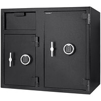Barska AX13316 21 inch x 30 3/4 inch x 27 1/4 inch Black Steel Locker Depository Safe with Large Independent Locker, 2 Digital Keypads, and Key Locks - 2.58 / 4.68 Cu. Ft.