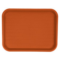 Carlisle CT101424 Customizable Cafe 10 inch x 14 inch Orange Standard Plastic Fast Food Tray - 24/Case