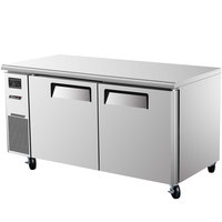 Turbo Air JUR-60 60 inch J Series Two Door Undercounter Refrigerator with Side Mounted Compressor