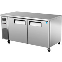 Turbo Air JUR-60 J Series 60 inch Solid Door Undercounter Refrigerator with Side Mounted Compressor